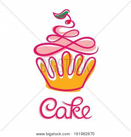 Cake cafe or bakery logo design. Cupcake vector illustration. Cake icon. Vector illustration in simple flat style. Bakery Shop Logo Design Element ( Cup Cake )