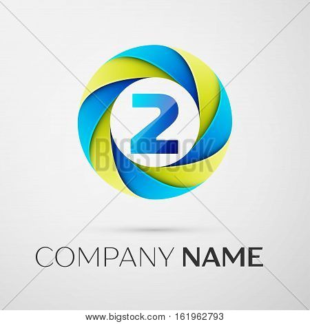 Number two vector logo symbol in the colorful circle on grey background. Vector template for your design
