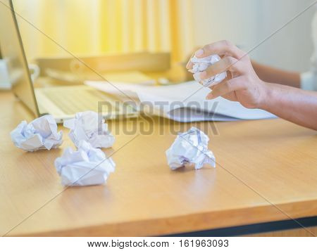 Businessman Holding Crumpled Paper Ball. Failure Idea Concept