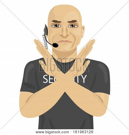 mature bald bodyguard crossing arms says no over white background