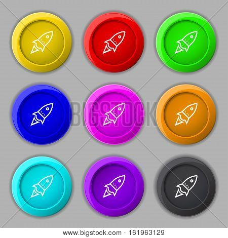 Rocket Icon Sign. Symbol On Nine Round Colourful Buttons. Vector