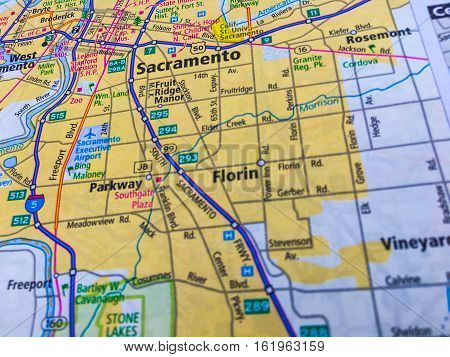 Map of Sacramento California with highways and Interstate 5 Running north and south