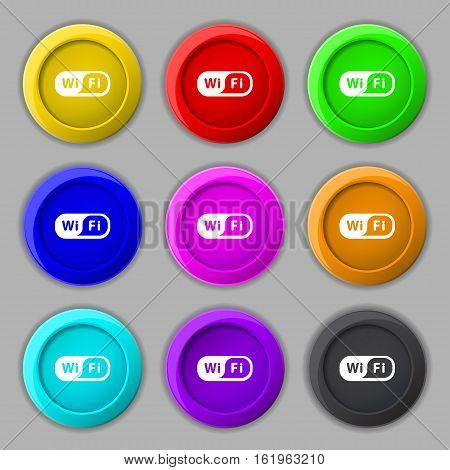 Wireless Network Icon Sign. Symbol On Nine Round Colourful Buttons. Vector