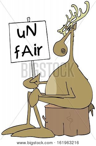 Illustration of a reindeer sitting on a log holding a protest sign that reads unfair.