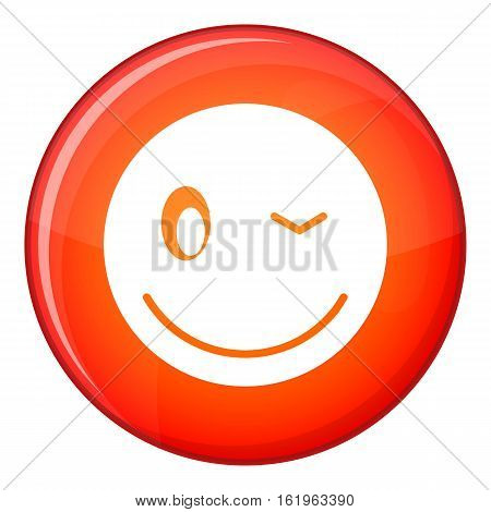 Eyewink emoticon in red circle isolated on white background vector illustration