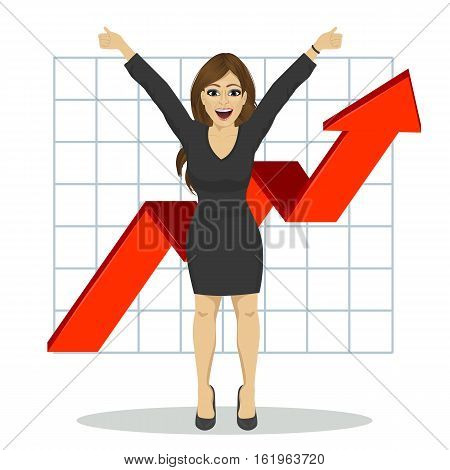 full length illustration of young business woman with arms raised. Financial success bar graph growing up