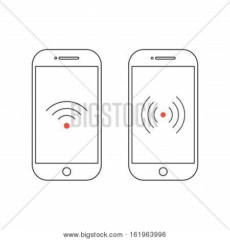 two outline smartphones with different wifi icons. concept of telecommunication, wifi zone, hotspot signal transmitter. isolated on white background. flat style trend modern design vector illustration