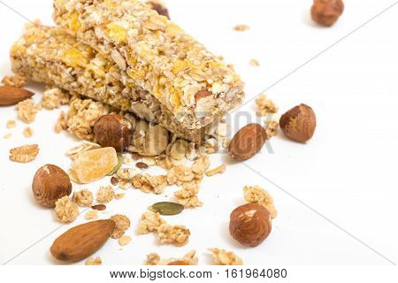 Granola Energy Bars With Nuts And Dry Fruits, On White Background.