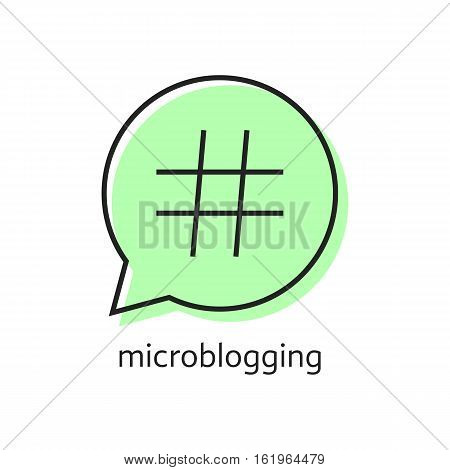 outline hashtag icon in green speech bubble. concept of pr, popularity, speak, promote, blog, microblogging. isolated on white background. flat style trend modern logotype design vector illustration