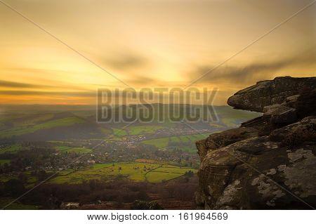 Sunset long exposure over Curbar Edge, Peak District