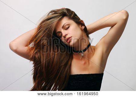 Model with long  hair.