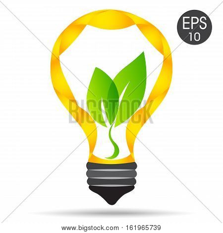 Vector lamp. Green idea. Lightbulb with green leaves for your design