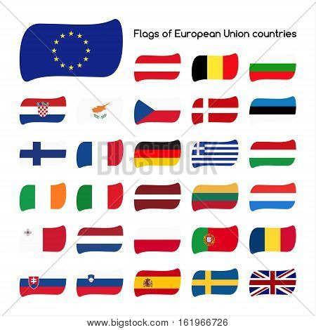 Set the flags of European Union countries member states in 2016 vector illustration isolated on white background