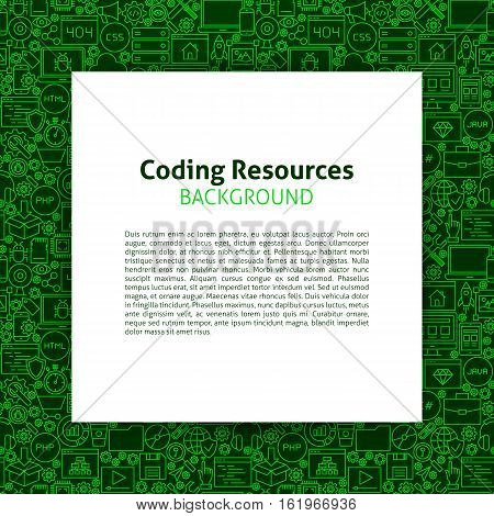 Coding Resources Template. Vector Illustration of Paper over Programming Skills Outline Design.