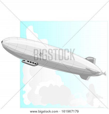 Vintage airship. Dirigible balloon. Illustration isolated .