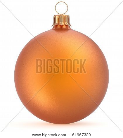 Christmas ball orange New Year's Eve decoration wintertime hanging sphere adornment souvenir bauble golden. Traditional ornament happy winter holidays Merry Xmas symbol closeup. 3d render illustration