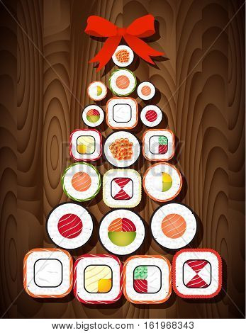 Sushi roll Christmas tree with red bow on wooden table background. Food for Christmas and New Year party.