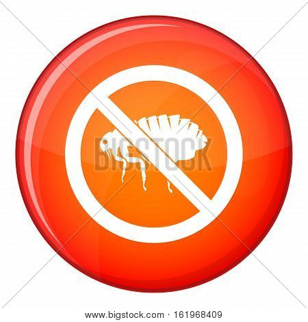 No flea sign icon in red circle isolated on white background vector illustration
