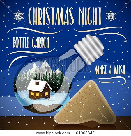 Christmas night with snow background. House on a winter background with mountains and forest in a light bulb. Bottle garden concept. Snow globe concept. Unusual Christmas gift.