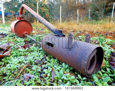 Flame gun/thrower  prior to being lit to burn off weeds