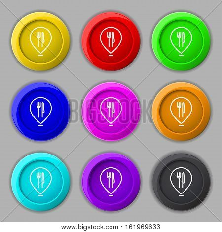Map Pointer With Restaurant Icon Sign. Symbol On Nine Round Colourful Buttons. Vector