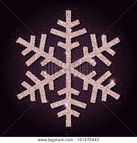 Pink Golden Glitter Beauteous Snowflake. Luxurious Christmas Design Element, Vector Illustration.