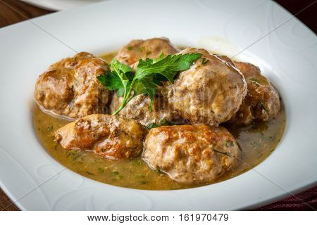 Pork Meatballs With Dill Sauce.