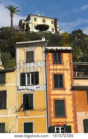 Portofino village - Detail of colorful houses. Genova Liguria Italy