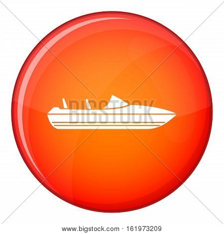 Little powerboat icon in red circle isolated on white background vector illustration
