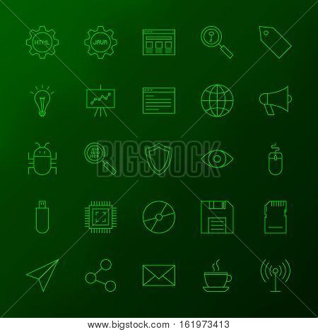 Programming Skills Line Icons. Vector Set of Outline Coding Items over Blurred Background.