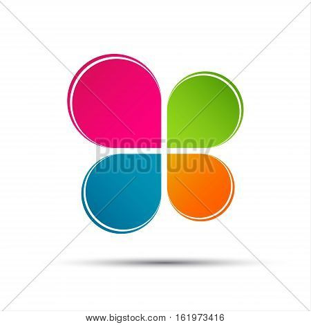 Anstract vector color logo in the shape of a cloverleaf isolated on a white background