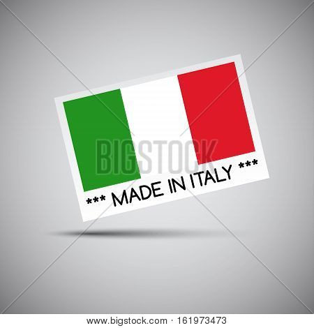Vector card Made in Italy with Italian flag vector illustration for you business