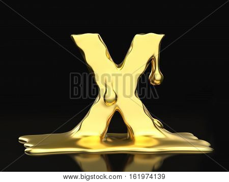 Liquid Gold Letter X 3D Illustration