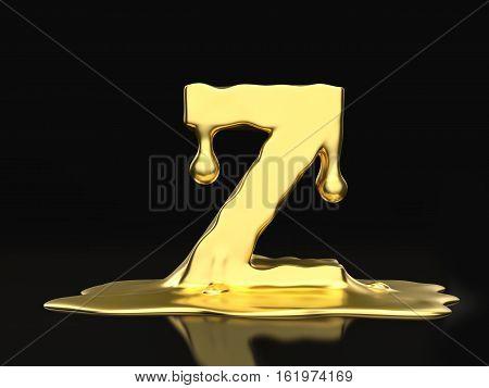 Liquid Gold Letter Z 3D Illustration