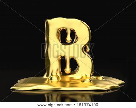 Liquid Gold Letter B 3D Illustration
