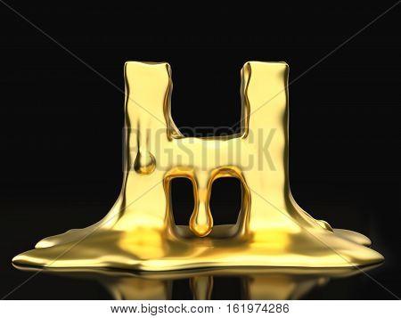 Liquid Gold Letter H 3D Illustration
