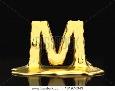 Liquid Gold Letter M 3D Illustration