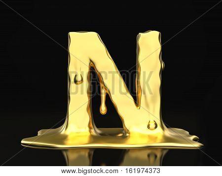 Liquid Gold Letter N 3D Illustration