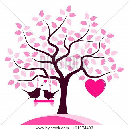 vector heart tree with swing and couple of birds isolated on white background
