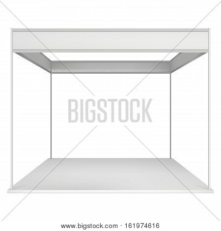Trade Show Booth White and Blank. Blank Indoor Exhibition with Work Paths. Vector isolated on white background. Ad Template for your Expo design.