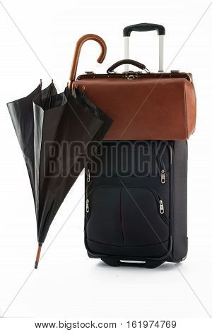 umbrella bag and suitcase on a white background