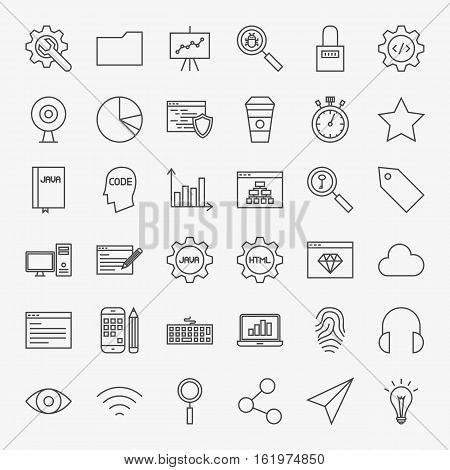 Web Development Line Icons Set. Vector Collection of Modern Thin Outline Coding and Programming Symbols.