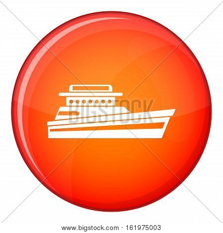 Great powerboat icon in red circle isolated on white background vector illustration