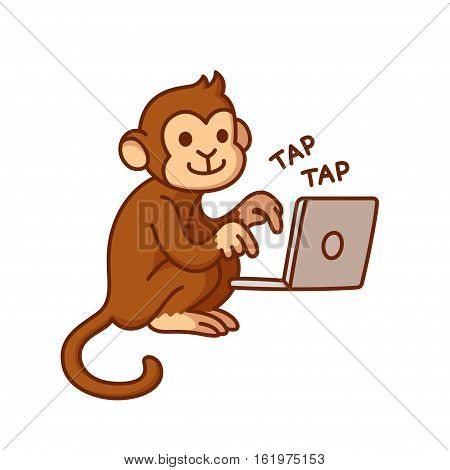 Monkey typing on computer funny vector illustration. Cute cartoon chimp working on laptop.