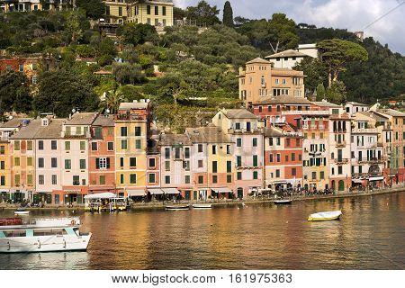 PORTOFINO ITALY - DECEMBER 9 2016: The village of Portofino with harbor and colorful houses. Genova Liguria Italy