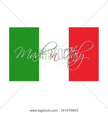 Made in Italy symbol Italian flag with handmade title Made in Italy vector illustration isolated on white background