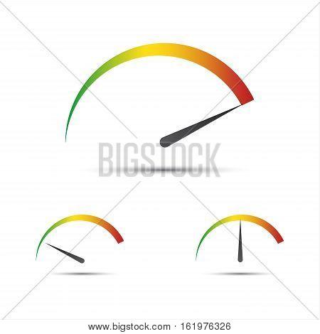 Set of simple vector tachometer with indicator in green yellow and red part speedometer icon performance measurement symbol isolated on white background
