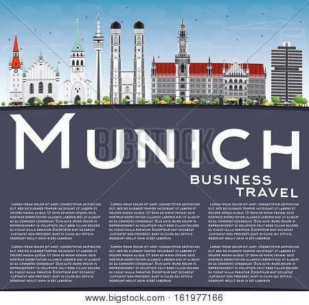 Munich Skyline with Gray Buildings, Blue Sky and Copy Space. Vector Illustration. Business Travel and Tourism Concept with Historic Architecture. Image for Presentation Banner Placard and Web Site.