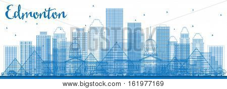 Outline Edmonton Skyline with Blue Buildings. Vector Illustration. Business Travel and Tourism Concept with Modern Architecture. Image for Presentation Banner Placard and Web Site.
