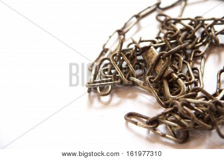 Old Chains, Closeup of rusty chain on white background
